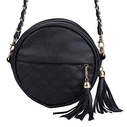 BeautyGal Shoulder BLACK Round Strap Messenger Tassel Women Bag Chain Detachable Plaid HHqOwr0