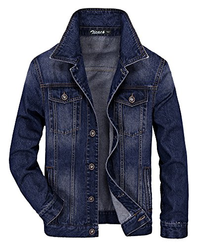 Custom Denim Jacket - Zicac Men's Denim Jacket Winter Fall Cowboy Coat Outerwear Parka (M, Blue#2)