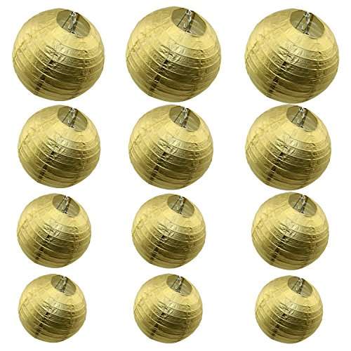 12 Packs Round Chinese Paper Lanterns Assorted Sizes
