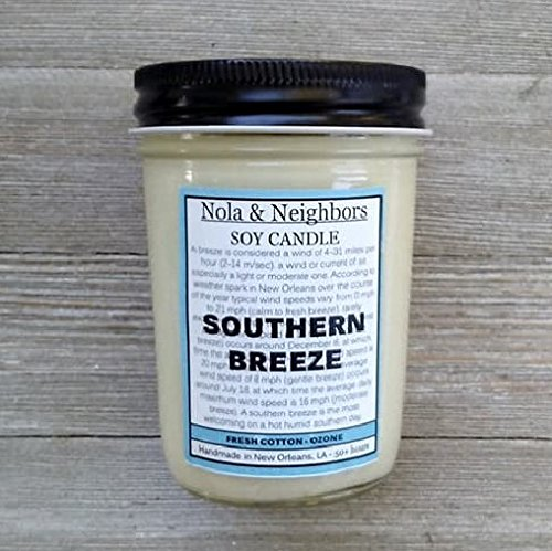 Fresh Clean Linen pure soy candle, Southern Breeze - Fresh Cotton, Fresh Linen - Maximum fragrance load - 50 + hours of burn time