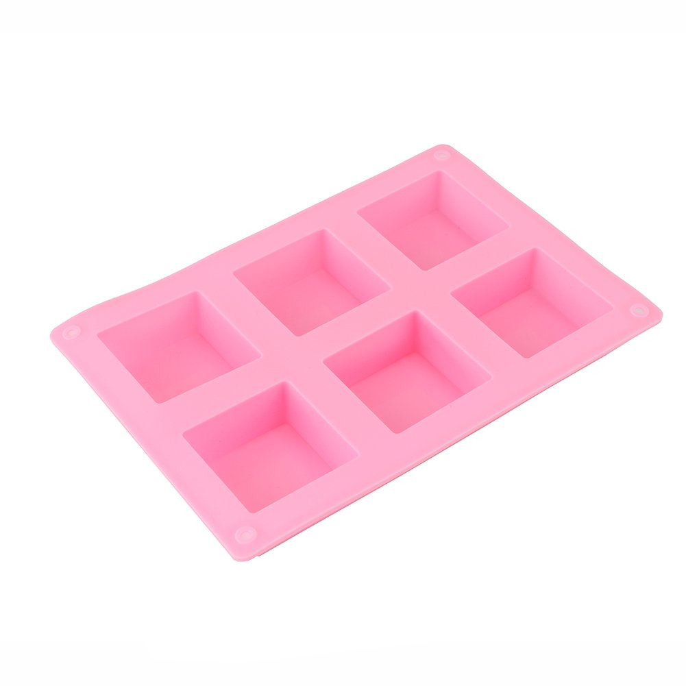 6MILES 1 PC 6 Square Silicone Cake Baking Mold Pans Muffin Cups Handmade Soap Lotion Bar Making Biscuit Chocolate Bread Craft Art DIY AHGRD010095