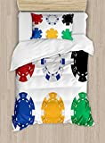 Poker Tournament Duvet Cover Set Twin Size by Ambesonne, Collection of Vibrant Colored Casino Chips Realistic Tokens Set Image, Decorative 2 Piece Bedding Set with 1 Pillow Sham, Multicolor