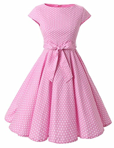 Mulanbridal Women's Rockabilly 50s Vintage Polka Dots Retro Cocktail Swing Dress Pink (Pink Polka Dot Skirt)