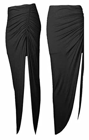 8b83614217 LADIES SIDE RUCHED HIGH SLIT SEXY SIDE SPLIT JERSEY LONG MAXI SKIRT SIZE 8- 14[BLACK,S/M (UK 8-10),RUCHD-SKRT-SLIT-SIDE]: Amazon.co.uk: Clothing