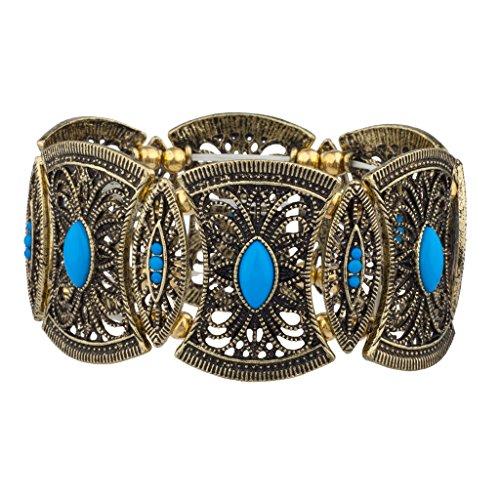 Price comparison product image Lux Accessories Filigree Burnished Blue Stone Floral Metal Stretch Bracelet