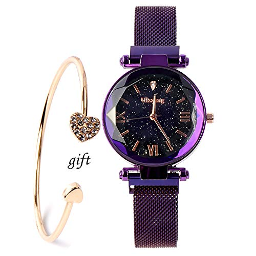 Valentine's Day Gifts-Ladies Fashion Wrist Watch Casual Crystal Quartz Star Dial Watch with Purple Magnetic mesh Belt and Bracelet Set Band Star Wrist Watch