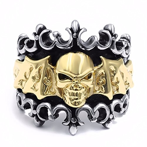 Skull Bat (Elfasio Mens Stainless Steel Ring Band Gothic Gold Skull Bat Solid Biker Fashion Jewelry Size 8)