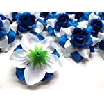 24-Silk-Two-tone-Blue-Roses-Flower-Head-175-Artificial-Flowers-Heads-Fabric-Floral-Supplies-Wholesale-Lot-for-Wedding-Flowers-Accessories-Make-Bridal-Hair-Clips-Headbands-Dress