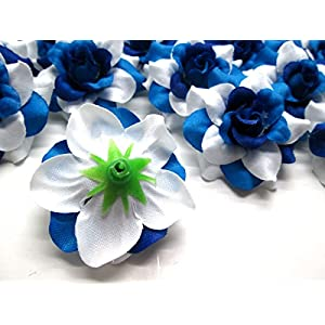 """(24) Silk Two-tone Blue Roses Flower Head - 1.75"""" - Artificial Flowers Heads Fabric Floral Supplies Wholesale Lot for Wedding Flowers Accessories Make Bridal Hair Clips Headbands Dress 2"""