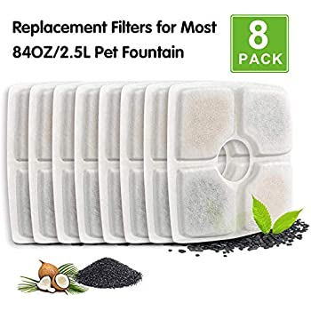 PK.ZTopia Cat Fountain Replacement Filter -Pack of 8, Pet Fountain Filters, Carbon Replacement Filter for 84oz/2.5L Automatic Pet Fountain Cat Water Fountain Dog Water Dispenser