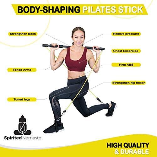 Spirited Namaste – Kit de entrenamiento portátil para pilates/yoga, barra corporal y palo para tonificar el hogar con 3 bandas de resistencia: accesorios, bandas de entrenamiento de suspensión con correa para el pie y banda de gimnasio de pilate 7