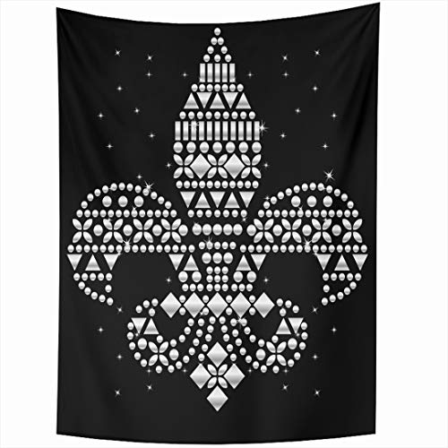 Ahawoso Tapestry 60x80 Inch Silver Rhinestone Applique Abstract Pattern Catholic Crystal Diamond Emblem Design Retro Wall Hanging Home Decor for Living Room Bedroom Dorm