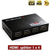 HDMI splitter,HDS-104 1x4 Powered 1080P V1.4 Certified HDMI Splitter with Full Ultra HD 4K/2K and 1080P & 3D Resolutions w/EDID Support (One Input To Four Outputs) (1x4 HDMI Splitter)