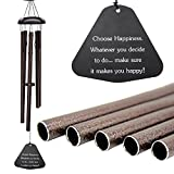 "Wind Chimes Outdoor Deep Tone,Large Wind Chimes Personalized with 5 Metal AluminiumTubes,Memorial Wind Chimes Amazing Grace for Outdoor Patio Home Garden Decor (Bronze 36"")"