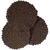 3 Brown Crochet Round Dishcloth Set Long Lasting 100% Cotton