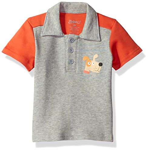Zutano Baby Boys' Color Blocked Polo Shirt, Puppies, 18M (12-18 Months)