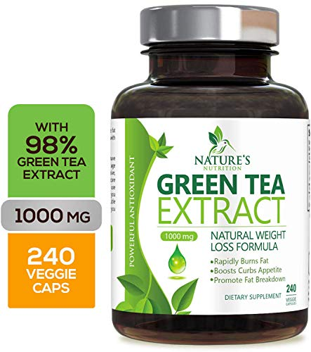 Green Tea Extract 98% with EGCG for Weight Loss 1000mg - Boost Metabolism for Healthy Heart - Antioxidants & Polyphenols for Immune System - Gentle Caffeine - Natural Fat Burner Pills - 240 Capsules ()