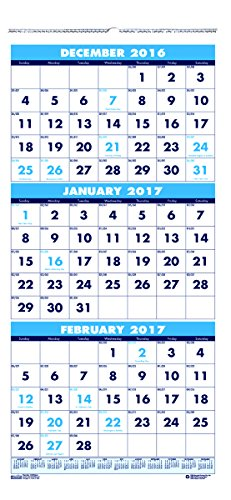 """House of Doolittle 2017 Wall Calendar, Three-Month Vertical, 8"""" x 17"""" (HOD3646-17)"""