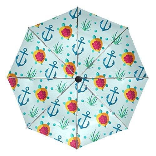 GIOVANIOR Nautical Marine Anchor Turtle Windproof Foldable Rain Travel Canopy Umbrella Auto Open Close Button by GIOVANIOR
