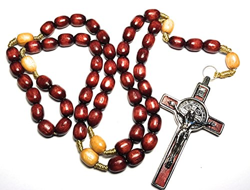big solid masculine look & feel ideal men's Rosary with medal and cross of Saint Benedict patron saint of students, kidney diseases, farm workers and civil engineers and Good Death (Cherry) (Cross Rosary Solid)