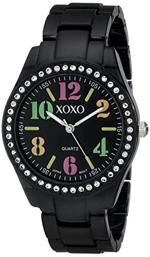 XOXO Women's XO5485 Rhinestone Accent Black Analog Bracelet Watch by XOXO