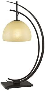 "Pacific Coast Lighting 87-1242-20 Orbit 1-Light Table Lamp, Bronze with Gold Edge Finish and Amber Glass Shade, 13.45"" x 13.48"" x 28"""