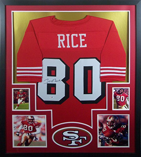 (Jerry Rice San Francisco 49ers Signed Autographed Custom Framed Red Shadow Jersey PSA/DNA Certified)