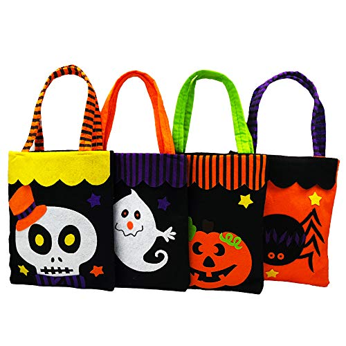 Halloween Goodie Bags,Joygrow 4 Packs Halloween Candy Holder Bag with Handle for Trick or Treating Bags, Halloween Party Favors Bucket Decoration Candy Bucket Gift Costume -