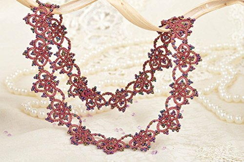 Beautiful Handmade Tatted lace Necklace of Claret Color with Beads Designer