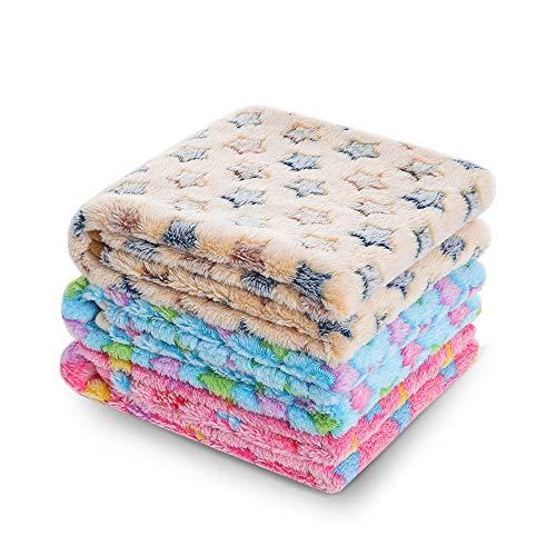 luciphia 1 Pack 3 Blankets Super Soft Fluffy Premium Fleece Pet Blanket Flannel Throw for Dog Puppy Cat Star Medium (Blankets Fleece Kidding)