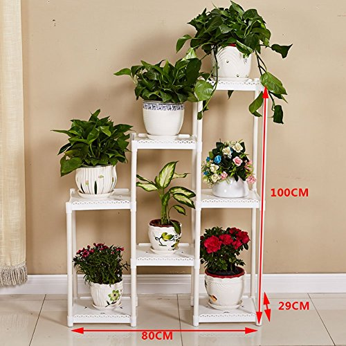 CSQ White Flower Stand, Creative 7 Tables Plant Stand Floor Shelf Living Room Bedroom Balcony Flower Pot Ornaments 8029100CM (Color : White) by Flowers and friends (Image #2)
