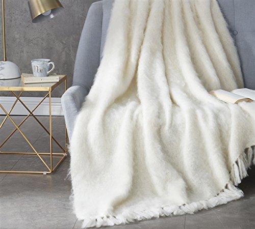 BYB Nama Karoo - Hand Brushed Kid Mohair - Throw Blanket - Almond Butter (Silken Blend) - Kid Mohair Throw