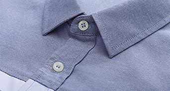 FidgetFidget Short Sleeve Casual Formal Shirt Color Splice Button Down Business Shirt for Men