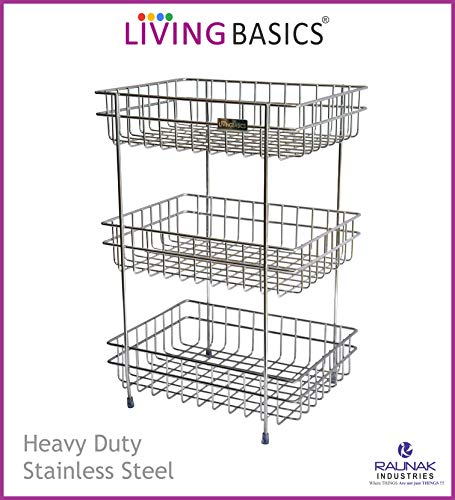 LIVINGBASICS ® 3 Tier Heavy Duty Rust Free Stainless Steel Spice Rack Fruit Wire Basket Stand for Cups, Dishes, Fruits, Snacks and Kitchen Containers Price & Reviews