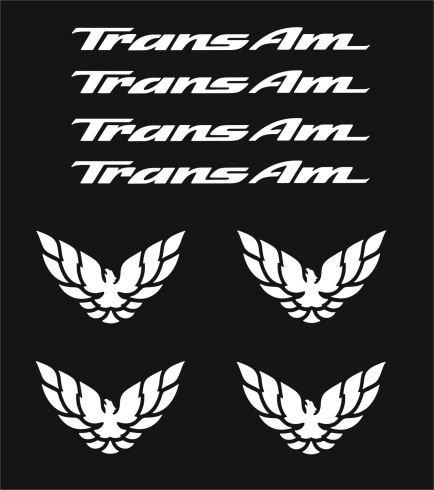 Pontiac Firebird Trans Am Wheel & Center-cap Decal Set 8 Pieces (Set Pontiac Firebird)