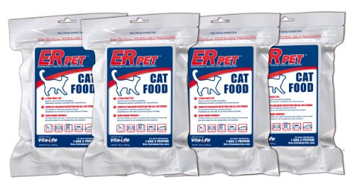 ER Emergency Ration PCFQK-4P Dry Cat Food for Survival Kits and Disaster Preparedness, Pack of - Pet Survival Kit
