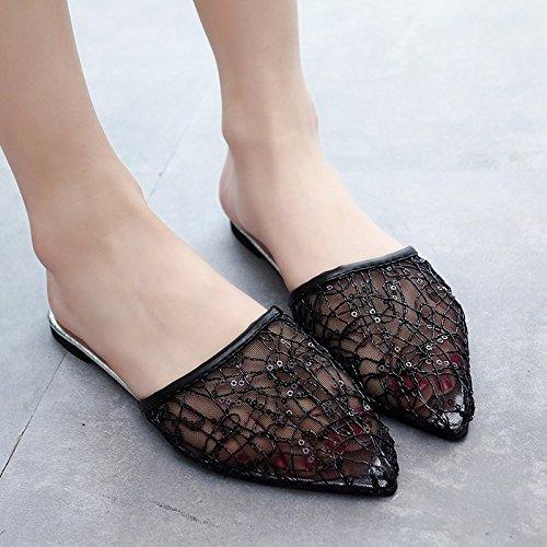 planas XIAOGEGE mujer zapatos verano malla de sandalias Negro nueva wq0TB