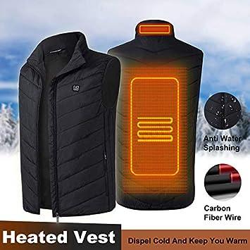 Gilet Termico Elettrico da Uomo Caldo riscaldabile Tramite USB Nero PerGrate Invernale Senza Maniche 2XL