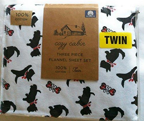- Cozy Cabin Scottie Dog and Bones Three PieceTwin Flannel Sheet Set
