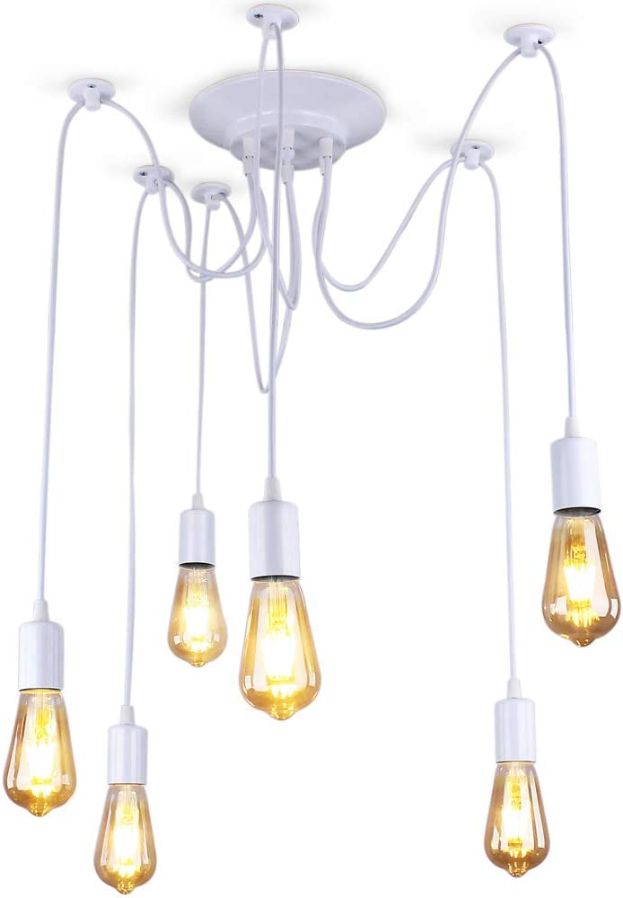 Winretro Spider Rustic Chandelier Adjustable DIY Ceiling Spider Light E27 Industrial Hanging Light Dining Hall Bedroom Hotel Decoration 6 Arms Each with 43.30 inch Wire