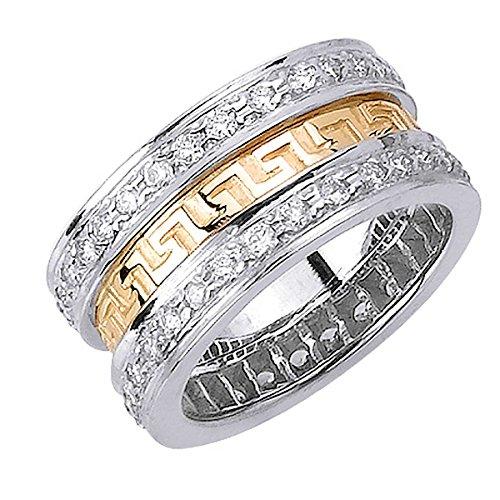 monds Two Tone Platinum-18K Men's Wedding Band (G-H, SI1-SI2) (10mm) Size-10c5 (18k Two Tone Diamond Ring)