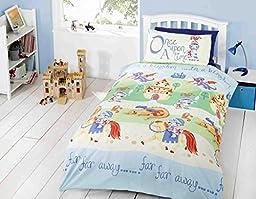 KIDS KNIGHTS & DRAGONS BLUE COTTON BLEND TWIN DUVET QUILT COVER #TOLEMAC *RH*