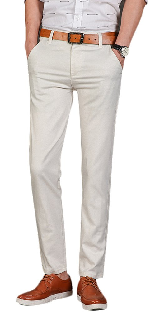 Plaid&Plain Men's Linen Pants Summer Pants Men's Lightweight Pants 7581Grey 32