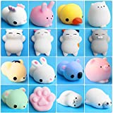 Mochi Squishy, Outee 16 Pcs Animal Squishies Mochi Squeeze Toys Soft Squishy Stress Animal Toys Kawaii Animal Squishy Mini Cat Squishies with Felt Bag, Random Color