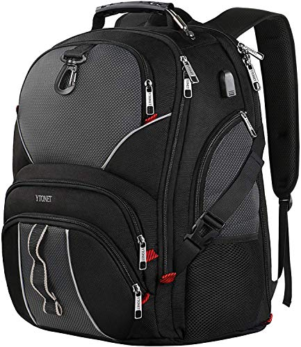 Extra Large Laptop Backpack,College School Backpack with USB Charging Port,50L TSA Approved Multi Functional Water Resistant Business Durable Travel Backpack for Men & Women,Fits 17 Inch Laptops,Black