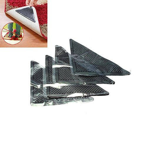 OKIl 4pcs Rug Carpet Mat Grippers Non Slip Reusable Washable Silicone Grip