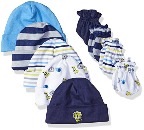 Gerber Baby Boys' 9 Piece Cap (0-6M) and Mitten (0-3M) Bundle, Safari, Newborn