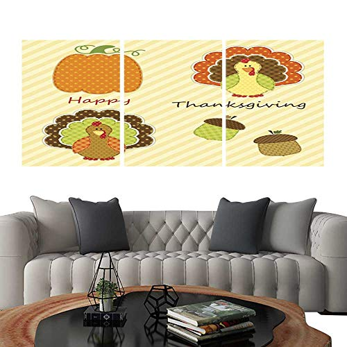 UHOO Triptych Paintings Combination DecorativeCute Thanksgiving Elements as Retro Fabric Applique in Traditional colors3. Bedroom,Hotel so on 12