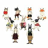 PunkStyle Novelty Animal Enamel Brooches Badge for Women Girls Children for Clothing Bag (cat rabbit fox brooch 9pcs)