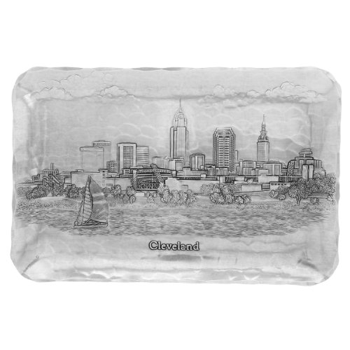 Cleveland Cityscape Sandwich Tray, Handmande in the USA by Wendell August Forge